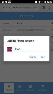 Add to Home Screen - Application Name